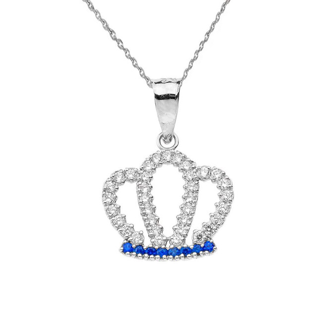 Radiant Diamond & Sapphire Solid White Gold Crown Pendant Necklace