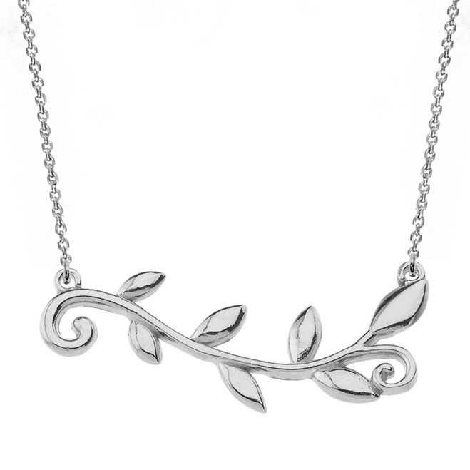 14k Solid White Gold Olive Branch Horizontal Necklace