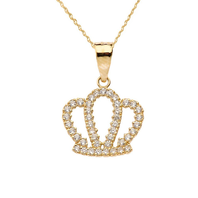 Radiant Diamond Solid Yellow Gold Crown Pendant Necklace