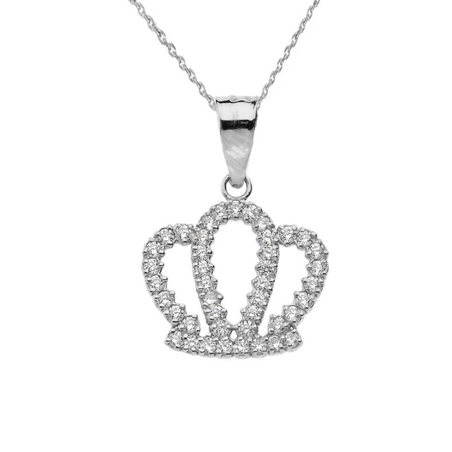 Solid White Gold Radiant Diamond Royal Crown Pendant Necklace