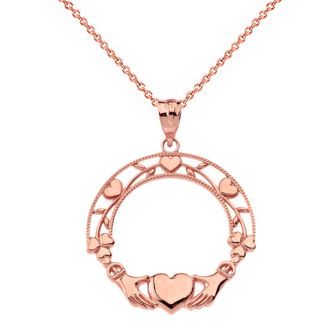 Solid Rose Gold Claddagh Wreath Pendant Necklace