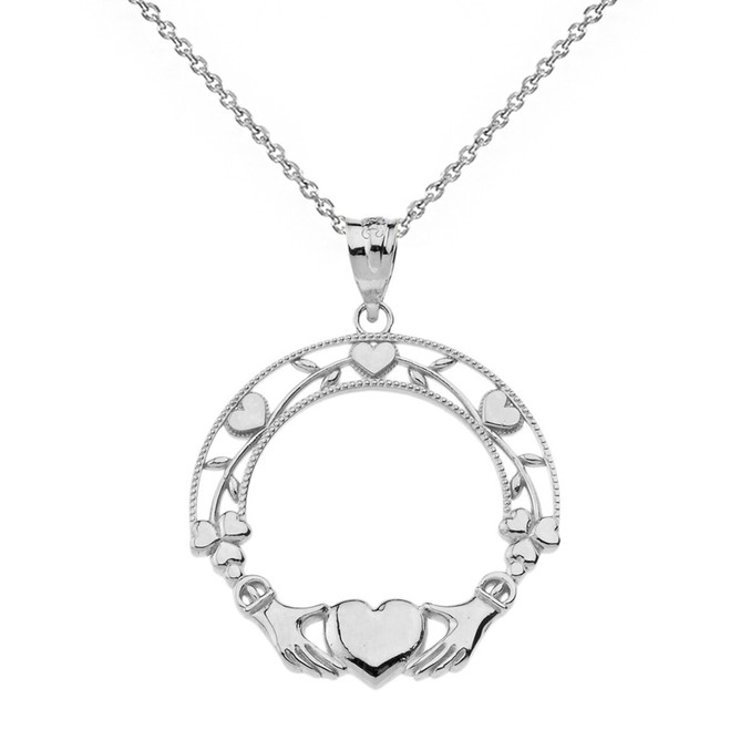 Sterling Silver Claddagh Wreath Pendant Necklace