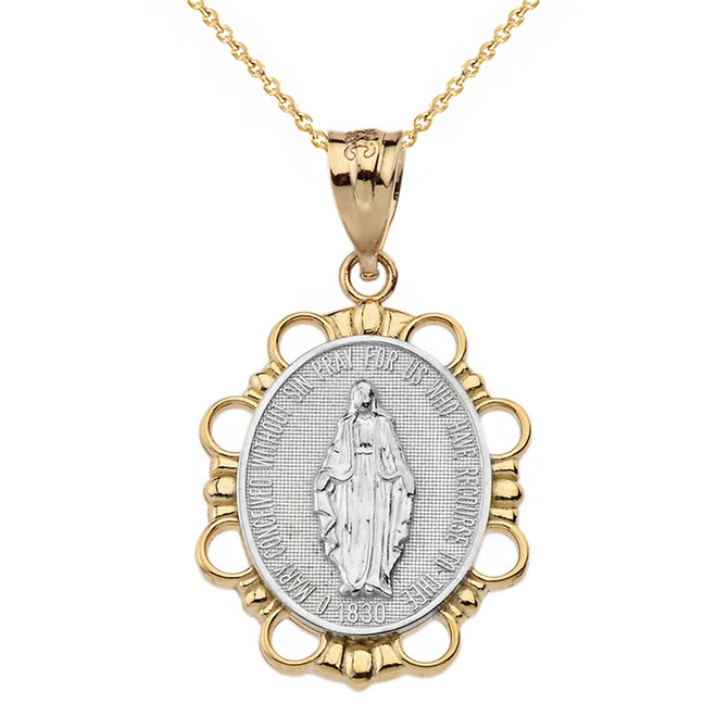 Solid Two Tone Yellow Gold  Miraculous Medal of Our Lady of Graces Pendant Necklace (Large)