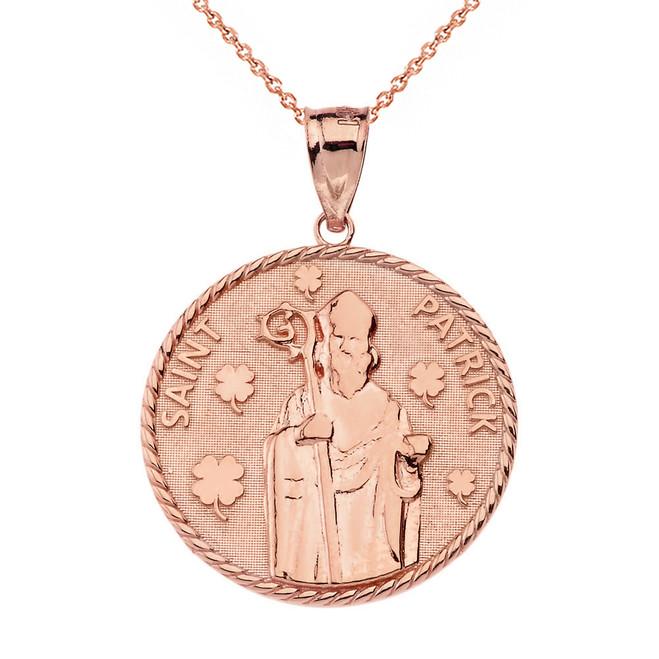 Solid Rose Gold Saint Patrick Clovers Medallion Pendant Necklace