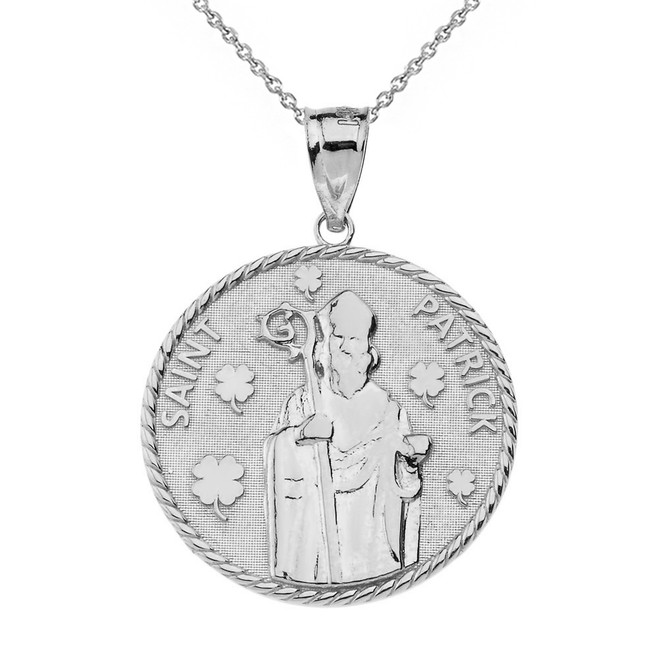 Sterling Silver Saint Patrick Clovers Medallion Pendant Necklace