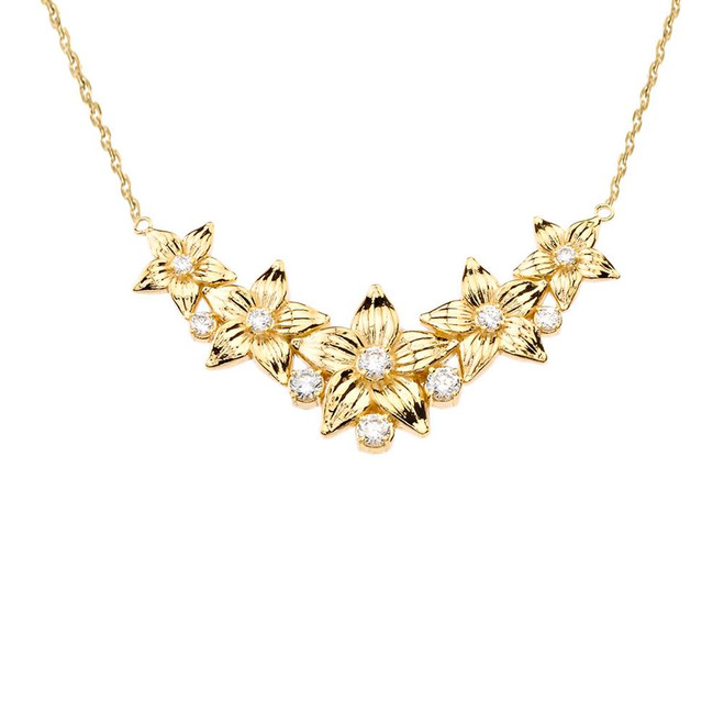 14K Elegant Diamond Flower Necklace in Yellow Gold