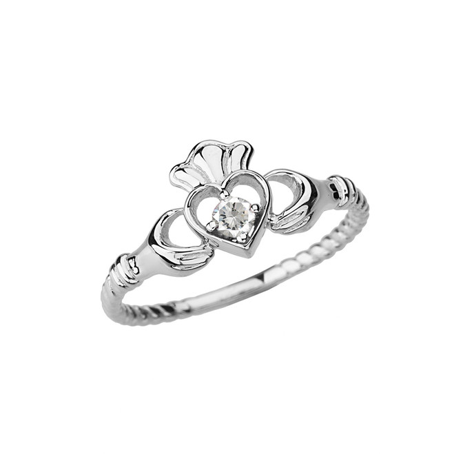 White Gold Solitaire & Promise Open Heart Rope Claddagh Ring