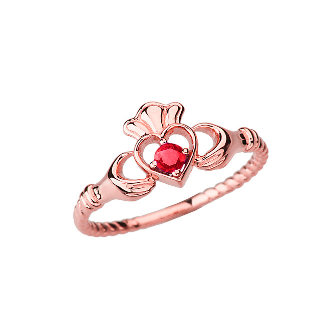 Rose Gold Genuine Ruby Solitaire & Promise  Open Heart Rope Claddagh Ring