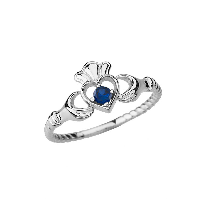 White Gold Genuine Sapphire Solitaire & Promise  Open Heart Rope Claddagh Ring