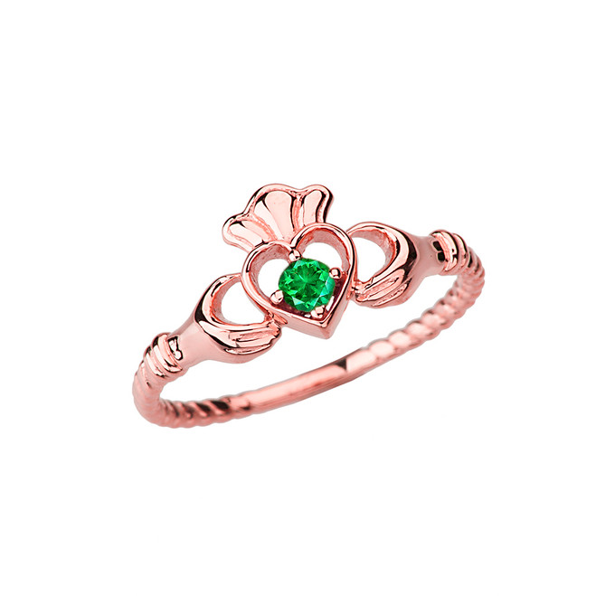 Rose Gold Genuine Emerald Solitaire & Promise  Open Heart Rope Claddagh Ring
