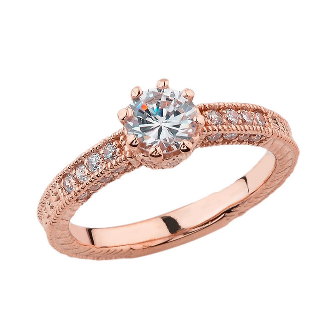 Elegant Diamond and White Topaz Art Deco Engagement and Proposal Ring in Rose Gold