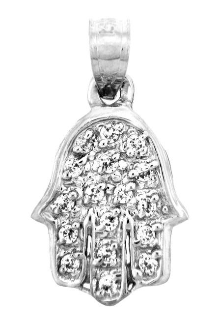 14K Gold Pendants - Hand of G-d with Diamonds Pendant