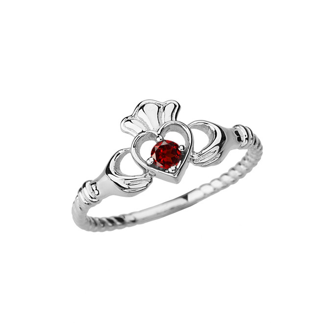White Gold Genuine Garnet Solitaire & Promise Open Heart Rope Claddagh Ring