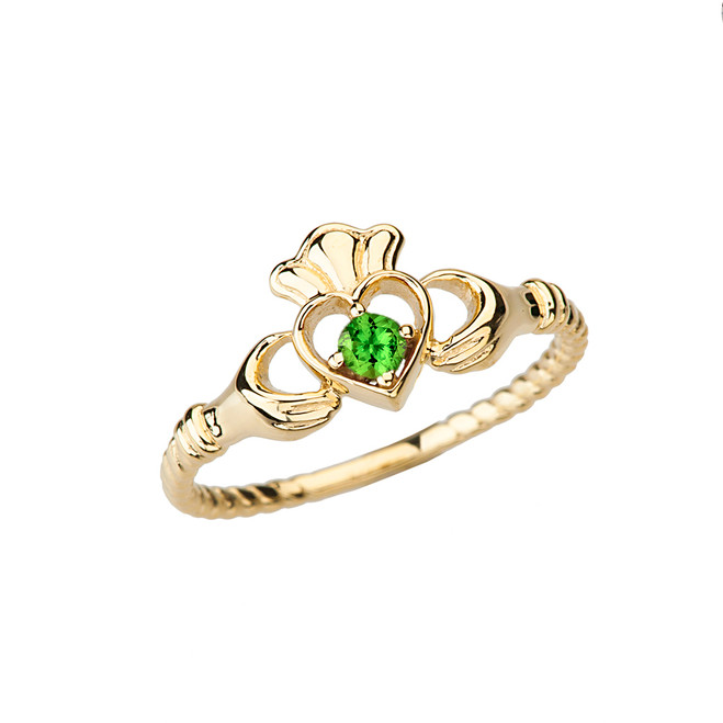 Yellow Gold Genuine Peridot Solitaire & Promise Open Heart Rope Claddagh Ring