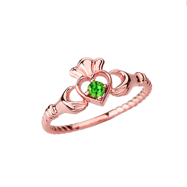 Rose  Gold Genuine Peridot Solitaire & Promise Open Heart Rope Claddagh Ring
