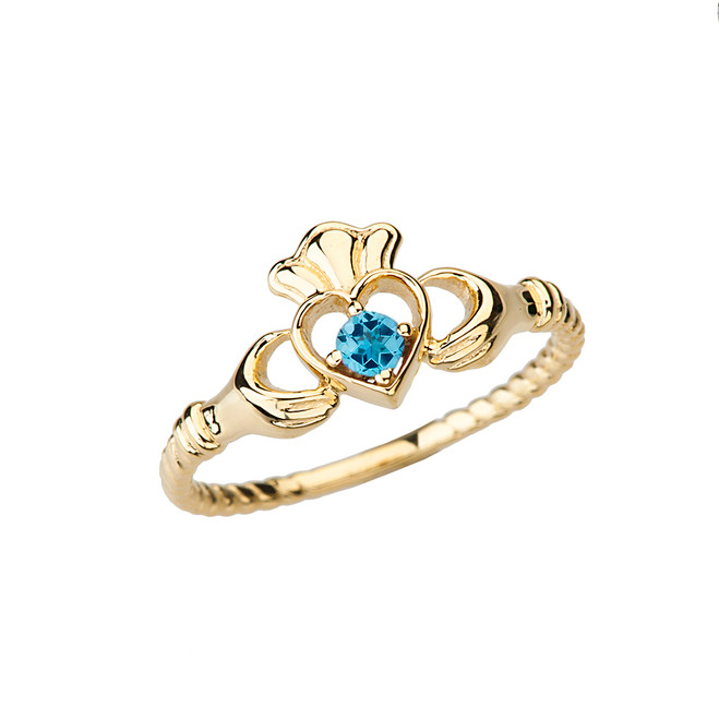 Yellow Gold Genuine Blue Topaz Solitaire & Promise Open Heart Rope Claddagh Ring