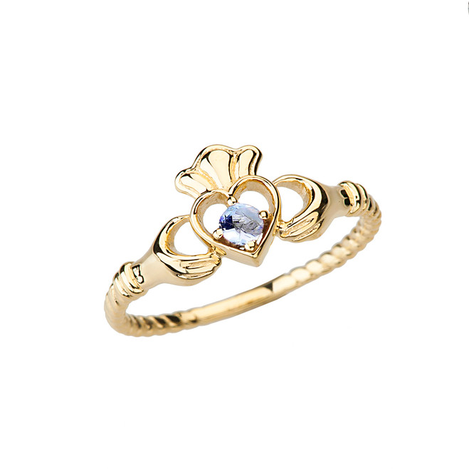 Yellow Gold Genuine Aquamarine Solitaire & Promise Open Heart Rope Claddagh Ring