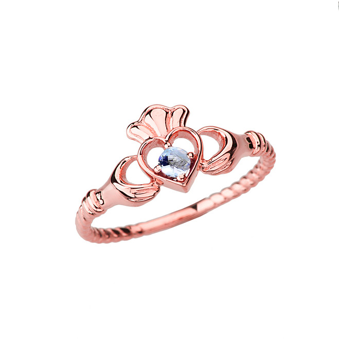 Rose  Gold Genuine Aquamarine Solitaire & Promise Open Heart Rope Claddagh Ring