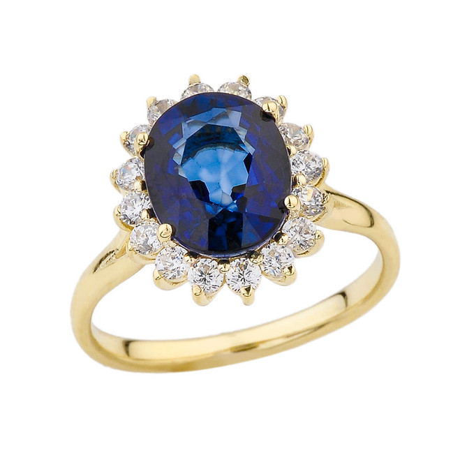 Princess Diana Inspired Halo Engagement Ring with LC Sapphire & Diamonds in Yellow Gold