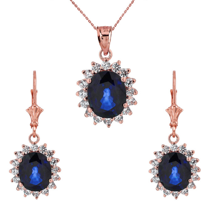 Princess Diana Inspired Elegant Cubic Zirconia and September Sapphire (LCS) Earrings and Pendant Necklace Set in 14K Rose Gold