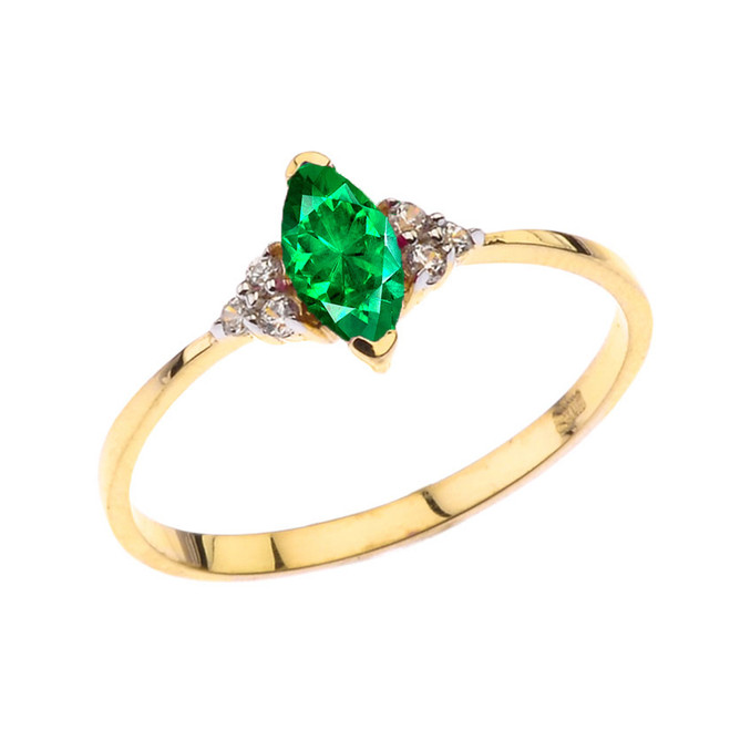 Unique May Emerald (LC) Marquise Promise/Proposal Ring in Yellow Gold