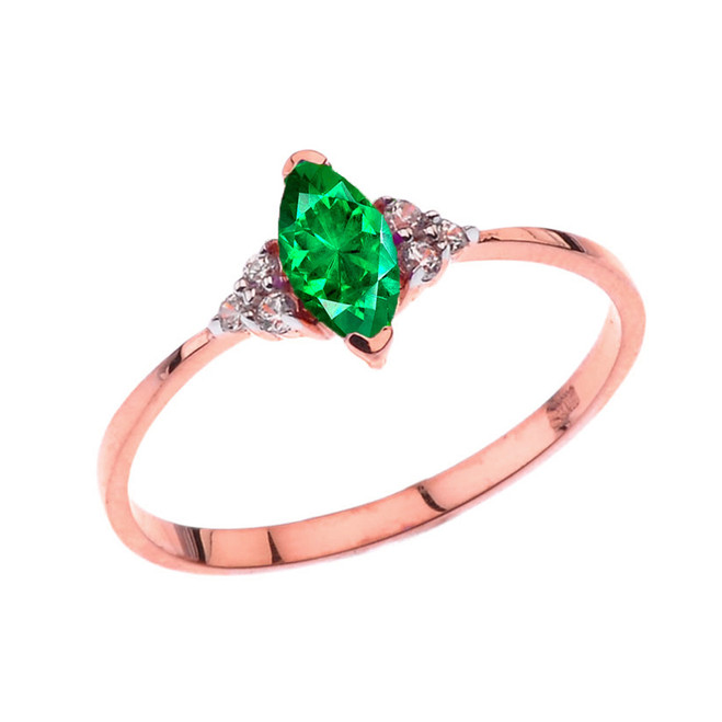 Unique May Emerald (LC) Marquise Promise/Proposal Ring in Rose Gold