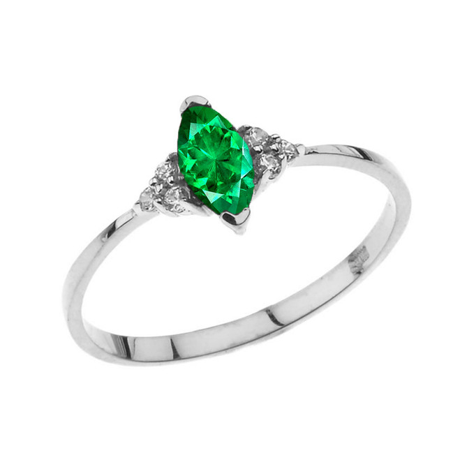Unique May Emerald (LC) Marquise Promise/Proposal Ring in White Gold