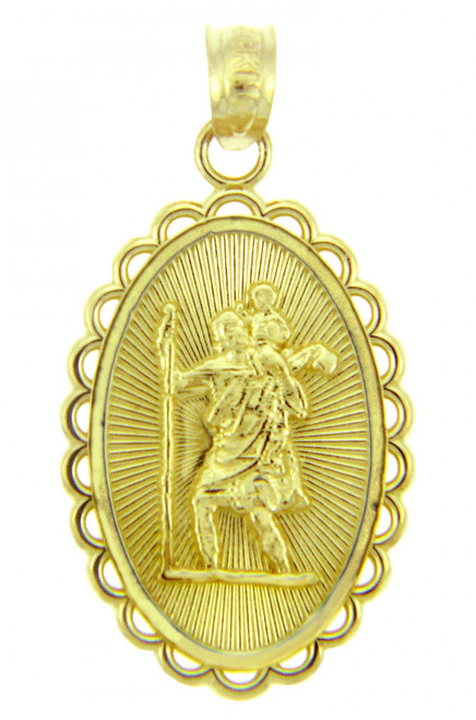 Gold Religious Pendants - The Saint Christopher Yellow Gold Pendant
