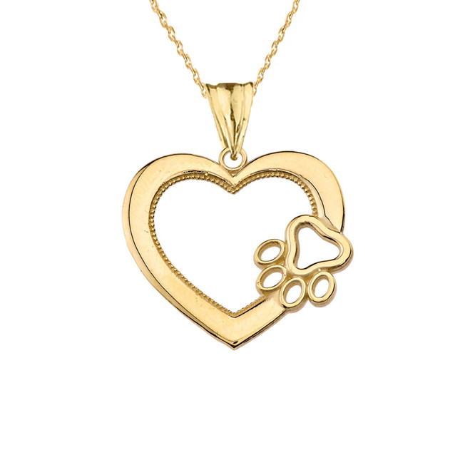 Heart Paw Print Pendant Necklace in Yellow Gold