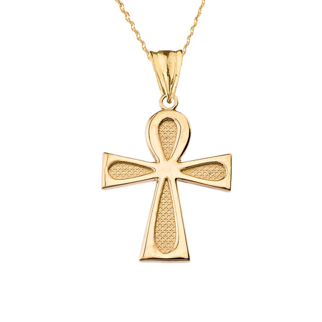 Sacred Ankh Cross Pendant Necklace in Yellow Gold