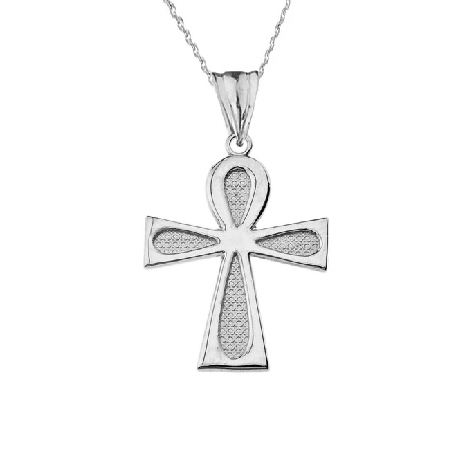 Sacred Ankh Cross Pendant Necklace in White Gold
