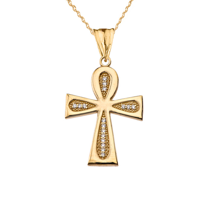 Diamond Sacred Ankh Cross Pendant Necklace in Yellow Gold