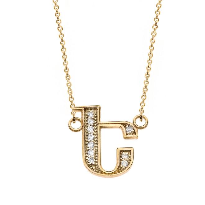 "14K Solid Yellow Gold Armenian Alphabet Diamond Initial ""E"" Necklace"
