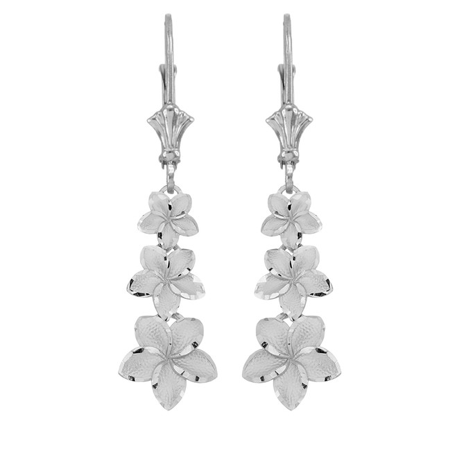 Elegant Plumeria Flower Leverback Earrings in 14k White Gold