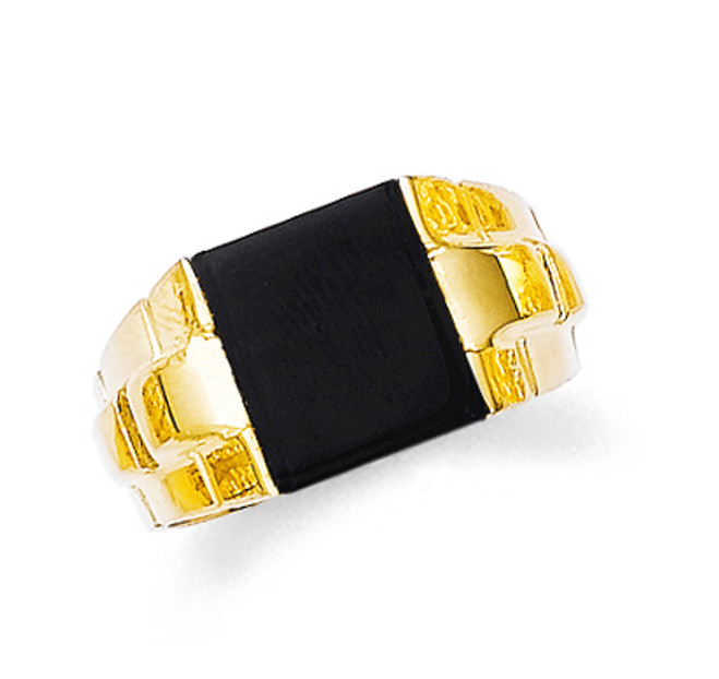 Gold Onyx Mens Square Ring