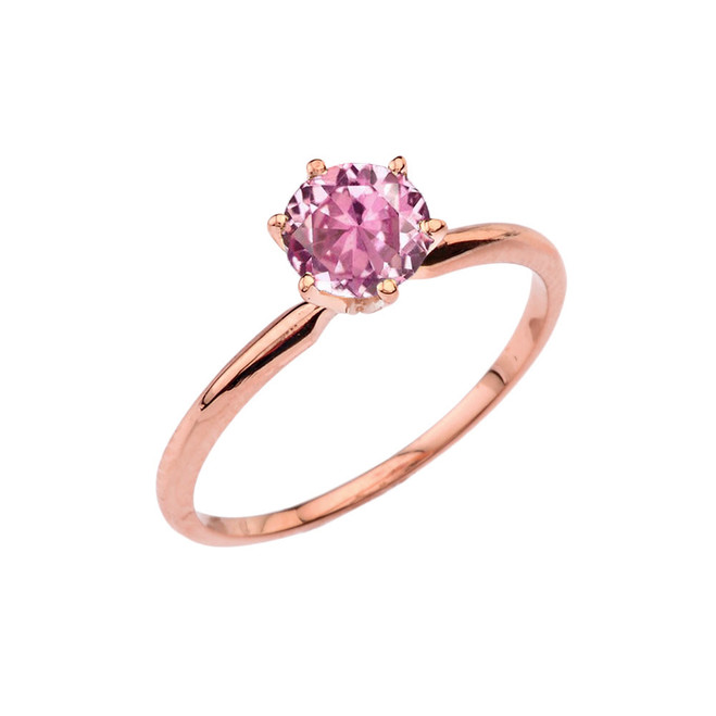 Rose  Gold Pink CZ  Dainty Solitaire Engagement Ring