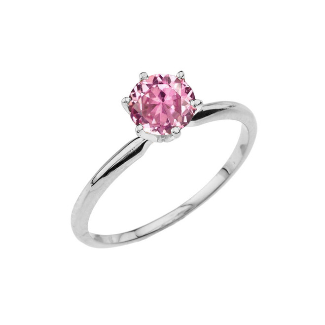 White  Gold Pink CZ  Dainty Solitaire Engagement Ring