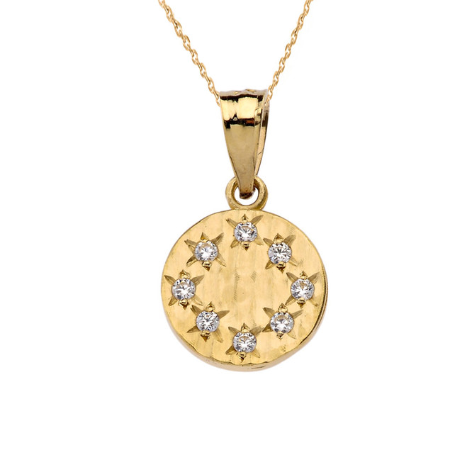 Yellow Gold Hammered Diamond Round Pendant Necklace