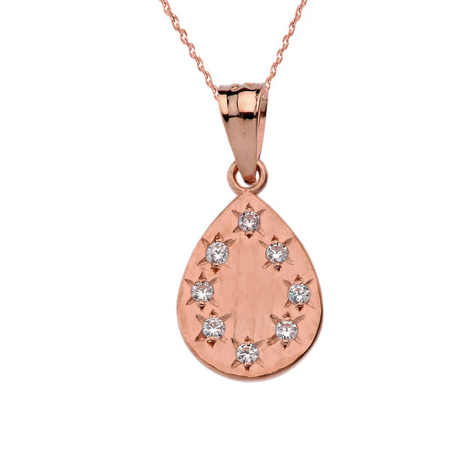 Rose Gold Hammered Diamond TearDrop Pendant Necklace