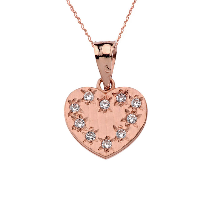 Rose Gold Hammered Diamond Heart Pendant Necklace