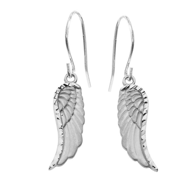 Dangling Angel Wing Earrings in Sterling Silver