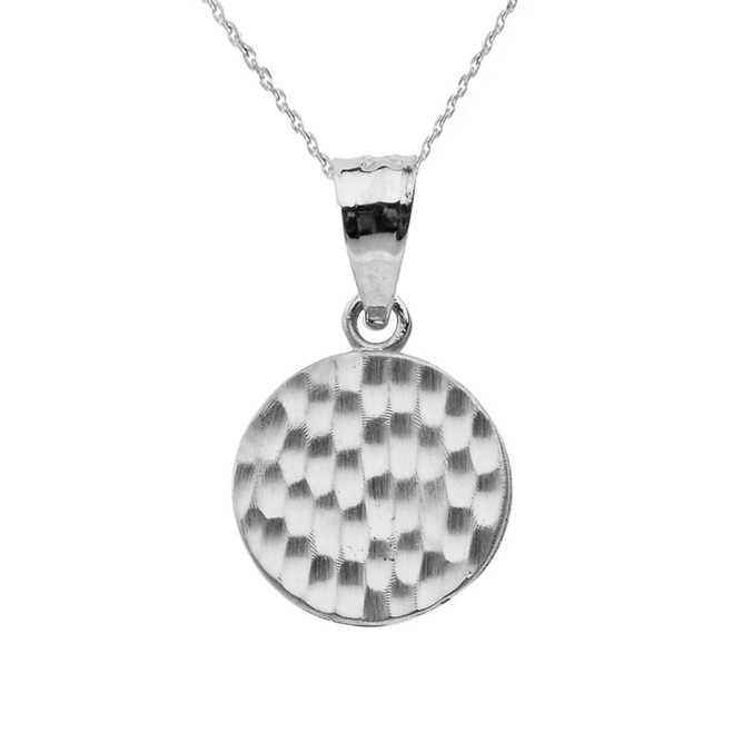White Gold Hammered Round Pendant Necklace
