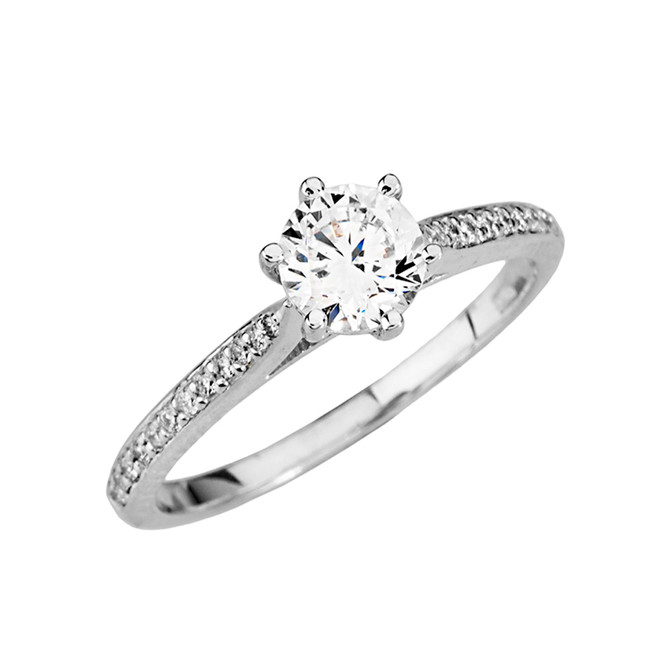 White Gold Dainty and Elegant Cubic Zirconia Engagement Proposal Ring