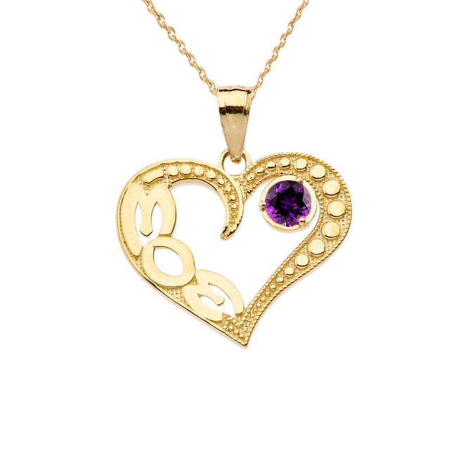 February Amethyst (LC) 'MOM' Heart Pendant Necklace in Yellow Gold