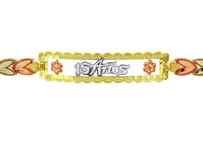Tri-Color Gold Bracelet - The 15 Anos Diamond Cut Bracelet