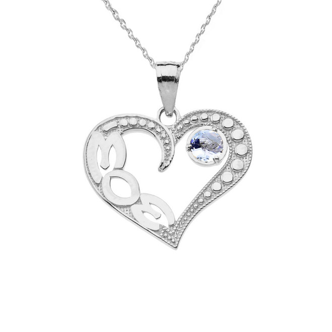 March Aquamarine (LC) 'MOM' Heart Pendant Necklace in White Gold