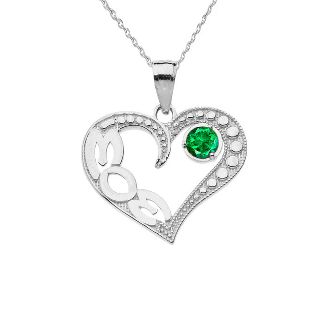 May Emerald (LC) 'MOM' Heart Pendant Necklace in White Gold