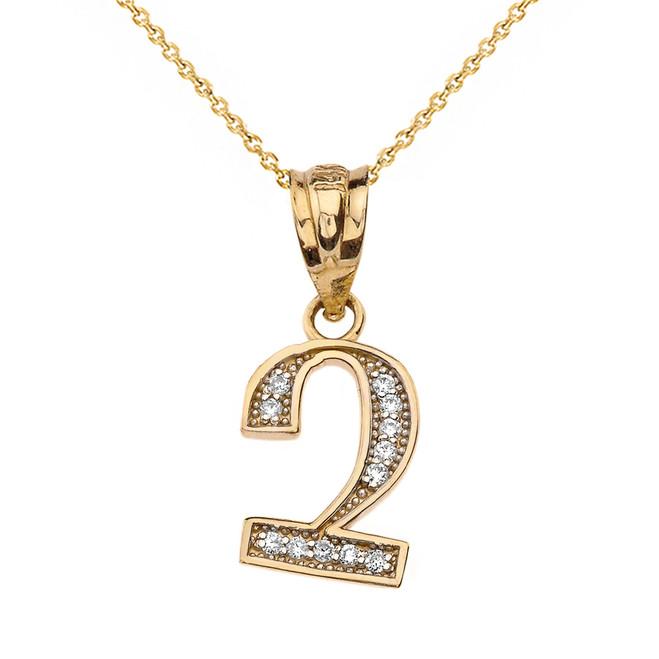 "Solid Yellow Gold Armenian Alphabet Diamond Initial ""Chu"" Pendant Necklace"