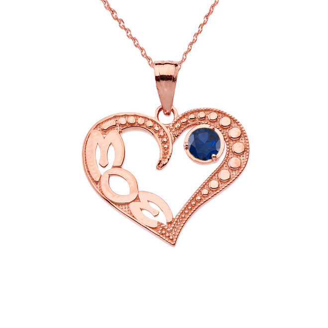 September Sapphire (LC)'MOM' Heart Pendant Necklace in Rose Gold