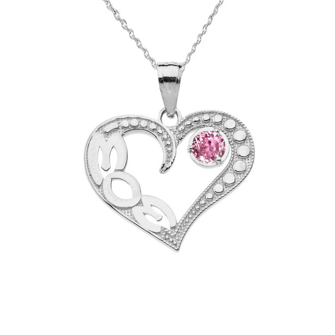 October Pink CZ 'MOM' Heart Pendant Necklace in White Gold